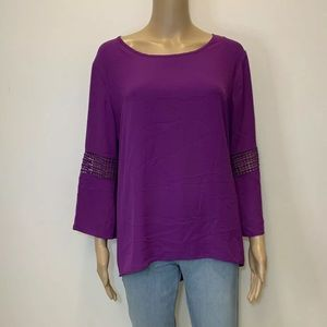 Cato Purple Blouse Size L Lace 3/4 Sleeves Hi/Low